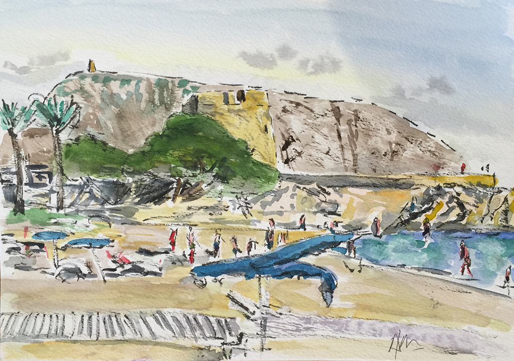Moraira Beach & Castle, Anthony Lancaster, Watercolor