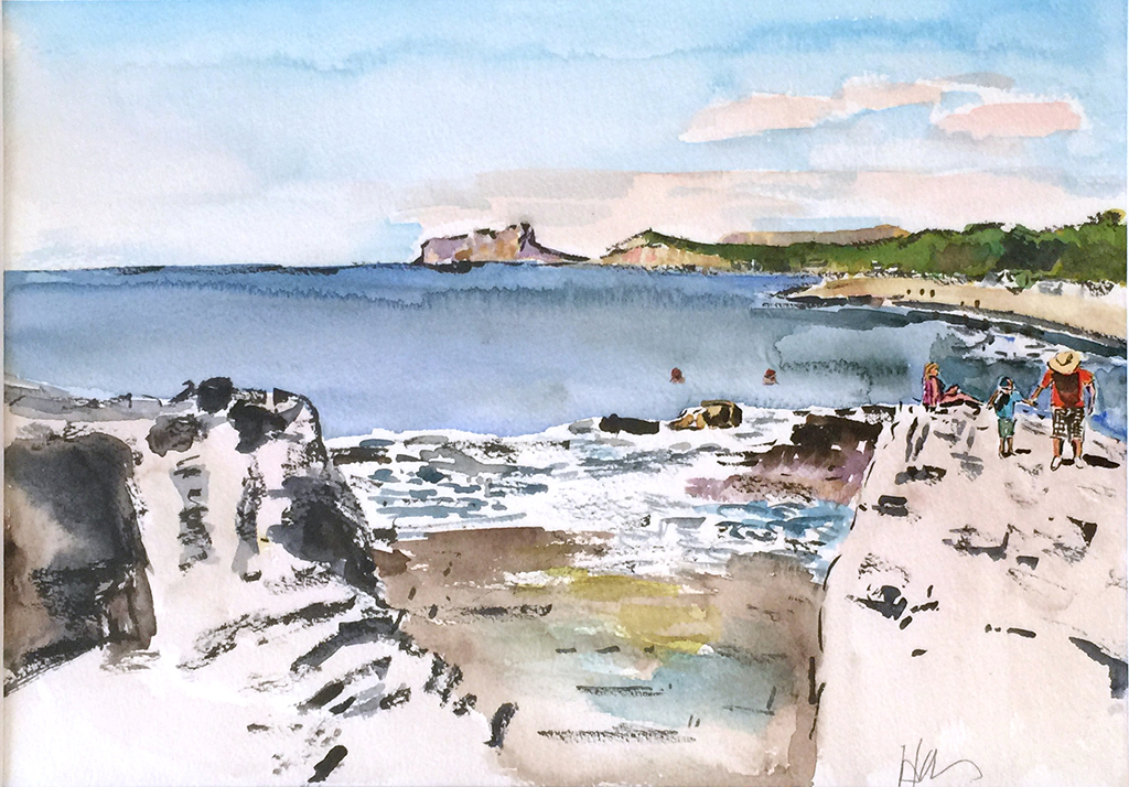Moraira Beach & Family Anthony Lancaster, Watercolor