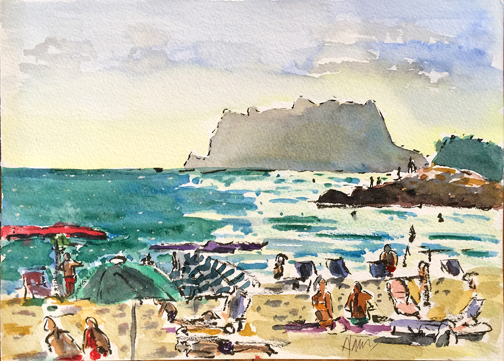 Moraira Beach & Ifach, Anthony Lancaster, Watercolor