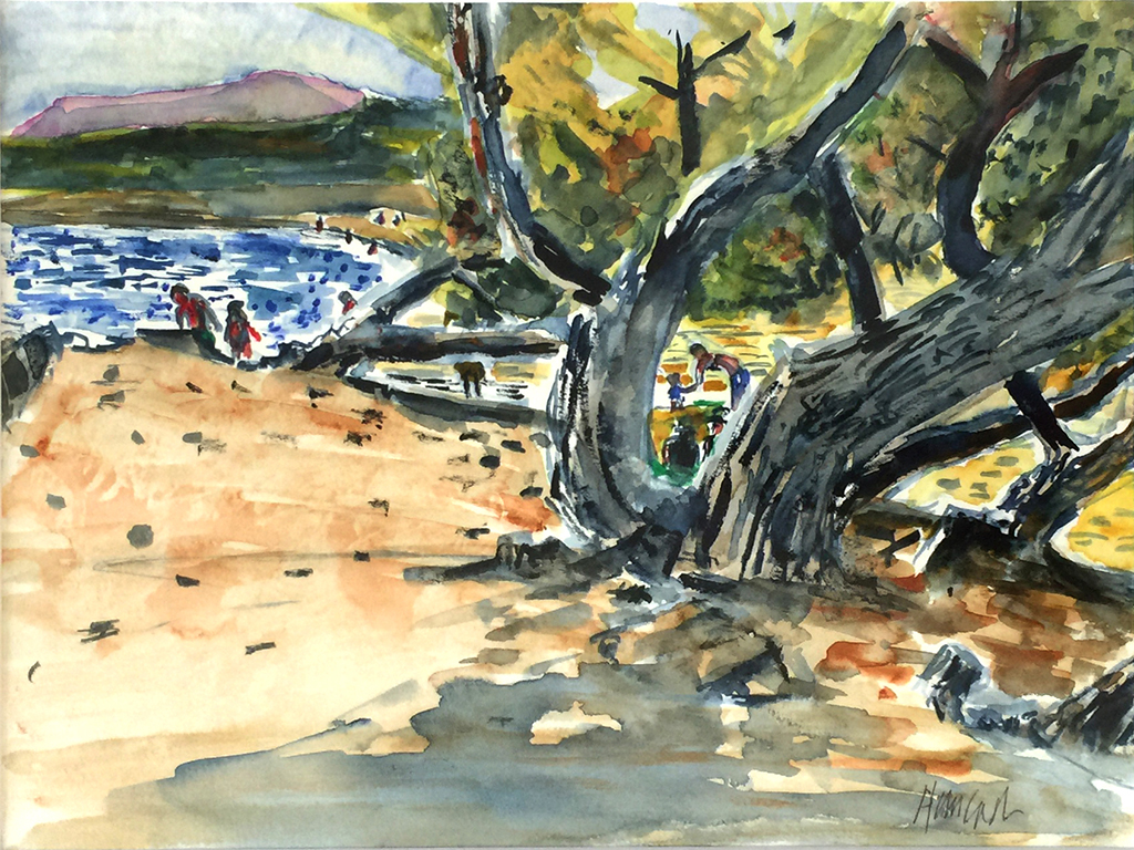 Moraira Beach & Tree, Anthony Lancaster, Watercolor