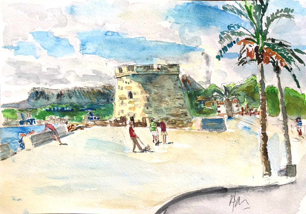 Moraira Castle & Dog Walkers, Anthony Lancaster, Watercolor